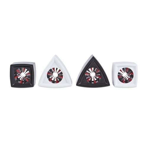 Rycote 107309 Mic Flag Set Juego de dieciséis Mic Bandas, (4) Cuadrado Negro, (4) Cuadrado Blanco, (4) Triangu